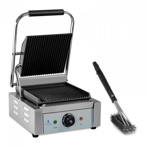 Kit machine à panini et brosse de nettoyage à 3 spirales - Plaques rainurées - 1 800 W
