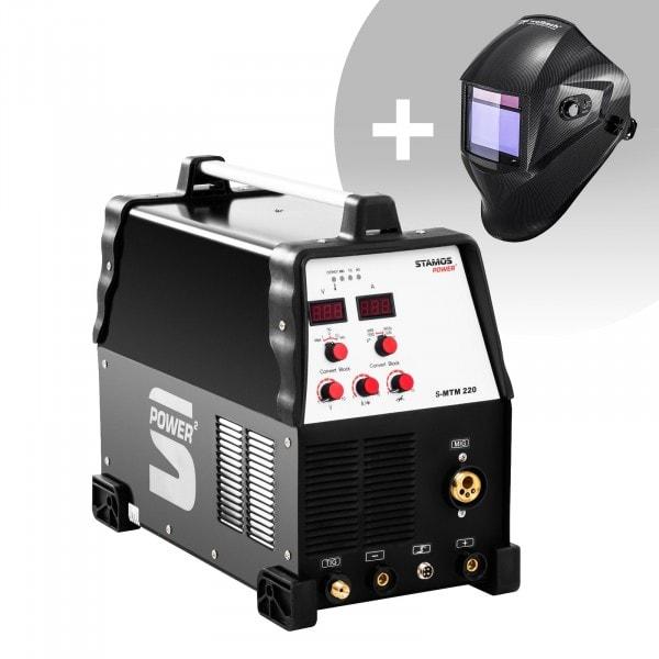 Set d'équipement de soudage Poste combiné - TIG 220A - MIG 220A - E-Hand + Masque de soudure – Carbonic – PROFESSIONAL SERIES