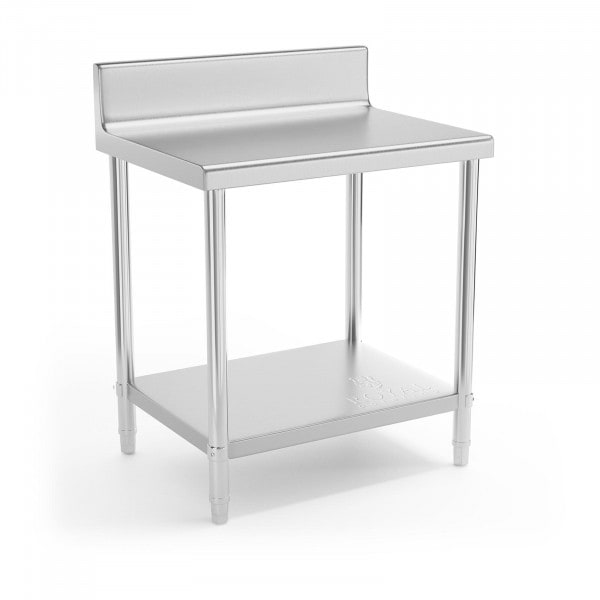Table de travail en inox - 80 x 60 cm - Avec rebord - Capacité de charge de 190 kg