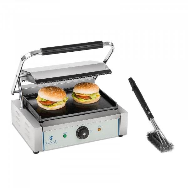 Kit machine à panini et brosse de nettoyage - 2 200 W - Plaque supérieure rainurée