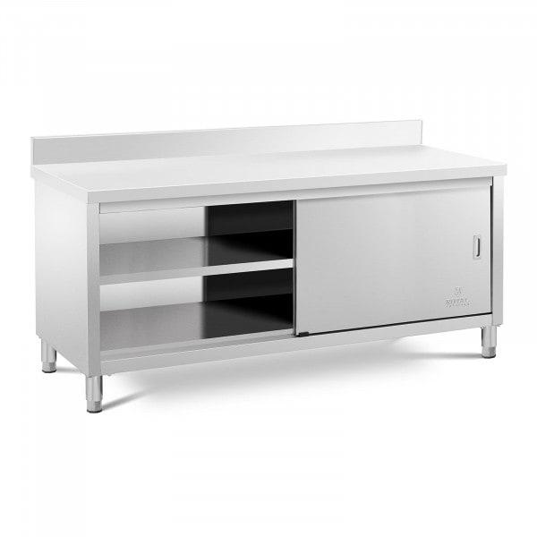 meuble bas inox - Avec dosseret - 200 x 70 cm - Capacité de 600 kg