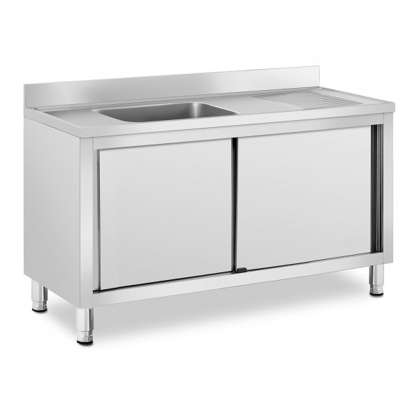 Plonge inox sur meuble - 1 bac - Royal Catering - Acier inoxydable - 500 x 400 x 240 mm