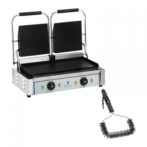 Kit machine à panini double et brosse de nettoyage - 2 x 1 800 W - Plaques lisses