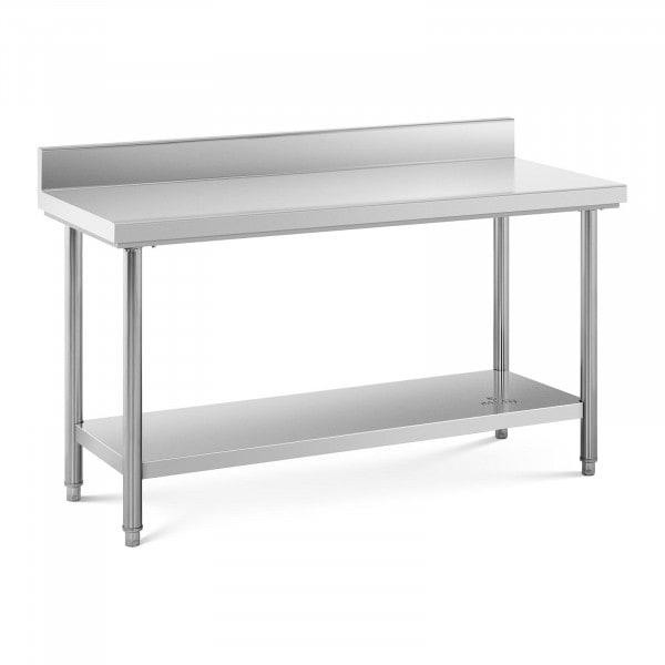 Table de travail inox avec dosseret - 150 x 60 cm - Capacité de 159 kg